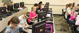 Washington Middle School Students working on computers